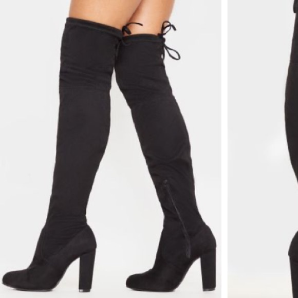 PrettyLittleThing Shoes - Suede Thigh high boots